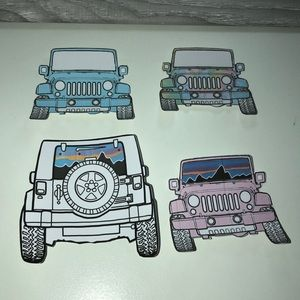 4 colorful Jeep stickers